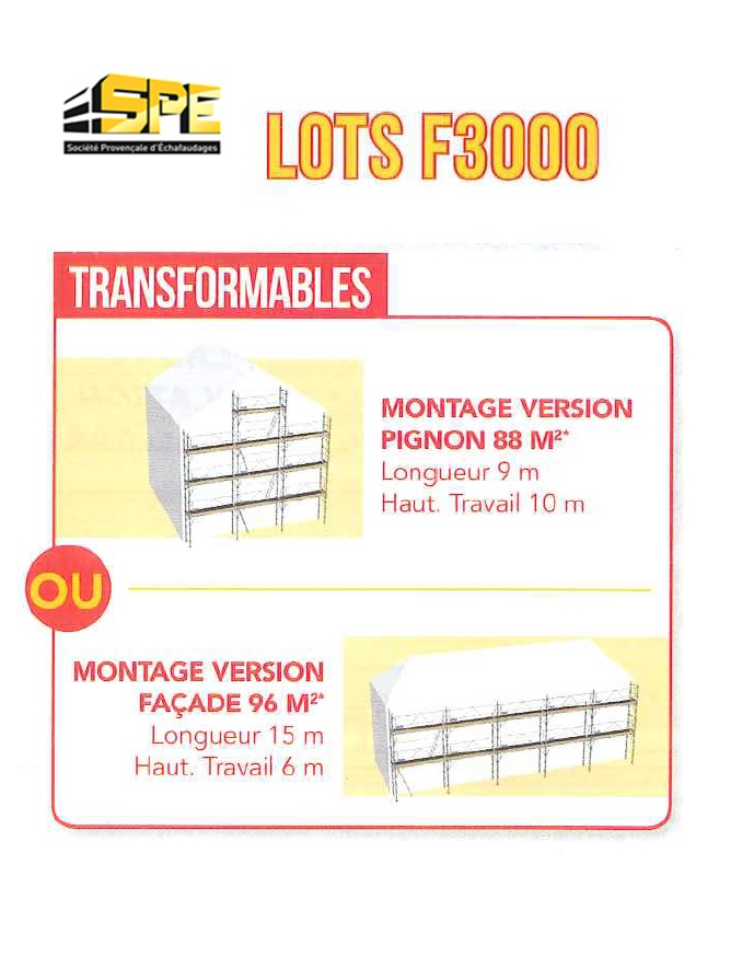 Echafaudage de facade f3000 duarib transformable version pignon soci t pro - Delai retour caution location ...