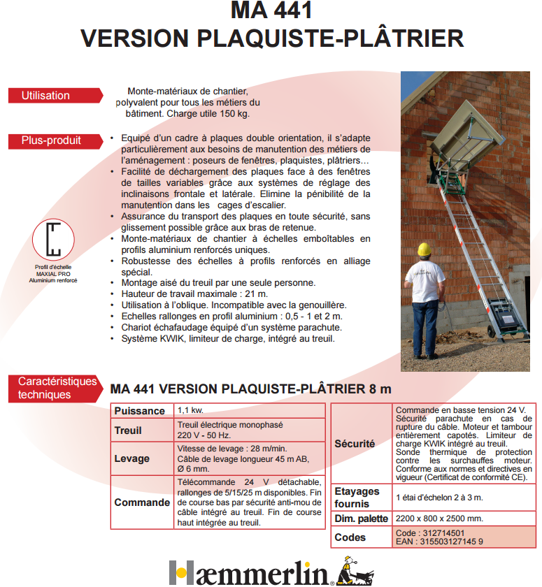 monte materiaux maxial ma 441 version plaquiste-platrier