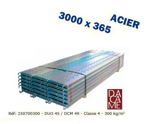 PLANCHERS ECHAFAUDAGE ACIER DACAME 3m x 0.36m