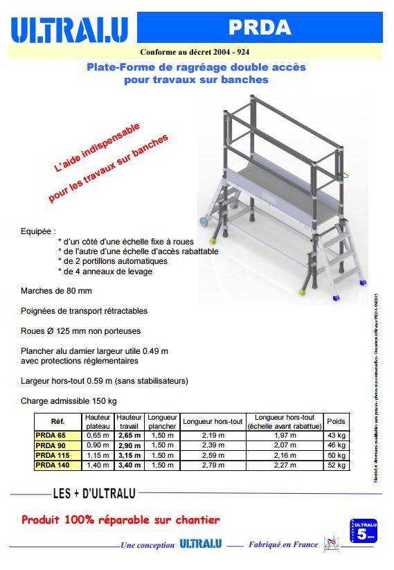 plate forme de ragreage ultralu double acces longueur plancher 1m50 soci t proven ale. Black Bedroom Furniture Sets. Home Design Ideas